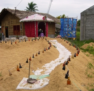 Another nativity scene in Clado - this one fabricated in part from rice husks and beer bottles