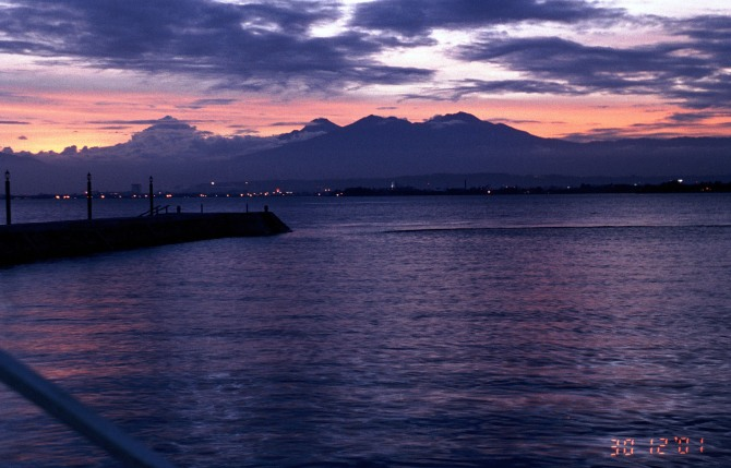 Sunset over Mt Apo from the Bluewater resort