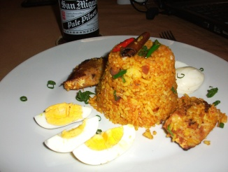 Kedgeree - smoked fish, sliced boiled eggs and lightly curried rice