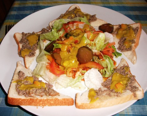 Pate on toast with fresh salad