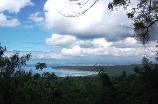 First stop to admire the view back across the Penaplata Bay towards Punta del Sol and Davao City
