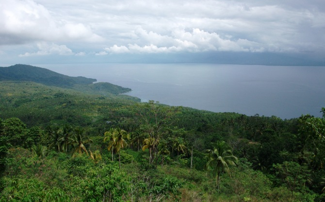 Nearing the peak, the view NE towards Davao Oriental province